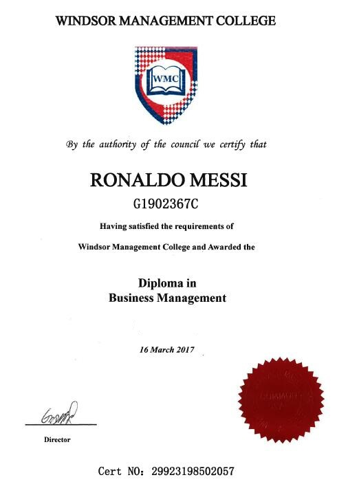sample of diploma windsor management college